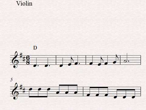Free Easy Beginner Violin Sheet Music, Row, Row, Row Your Boat