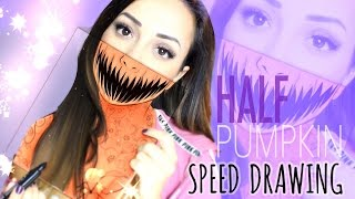 🎃 HALF PUMPKIN FACE // SPEED DRAWING #HALLOWEENSERIES 🎃