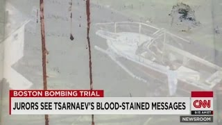 video Note found scrawled on the side of the boat where suspected Boston bomber was captured. Alexandra Field reports.