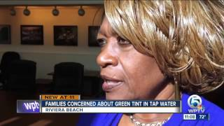 Families concerned about green tint in tap water