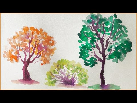 Видео как нарисовать дерево рябину