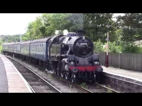 East Lancashire Railway - BR Standard Class 4 80080 and  BR 117 DMU at Ramsbottom Station