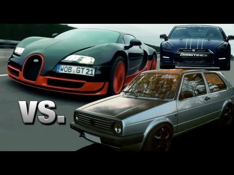 VW Golf 2 AWD 1000HP vs Bugatti Veyron Super Sport vs AMS Nissan GTR Alpha 12+