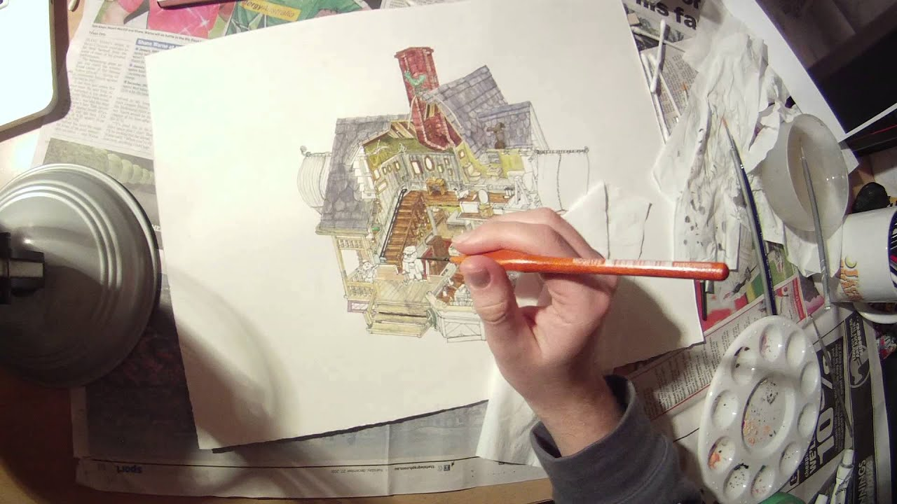pixars up carls house crosssection timelapse