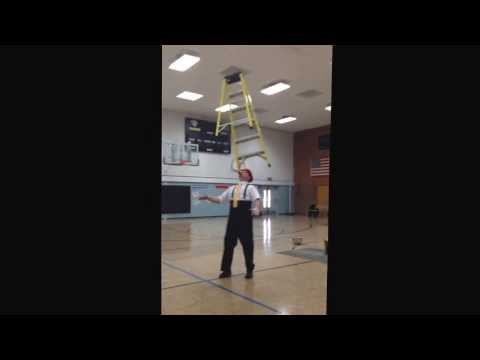 Kenny Ahern having a little ladder fun at Faribault Lutheran Schools 1/17/14