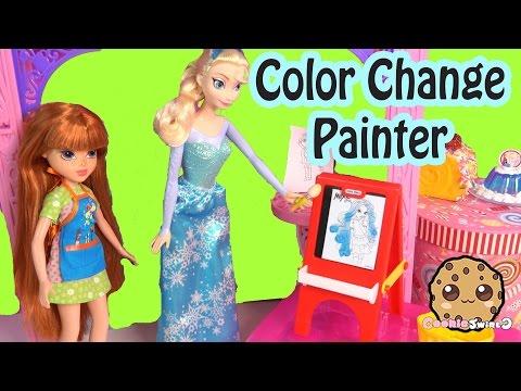 Moxie Girlz Painter Doll Playset & Disney Frozen Queen Elsa Paints With Color Change Art Set