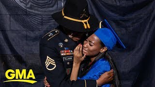 Soldier surprises daughter at high school graduation after not seeing her for years  l GMA Digital
