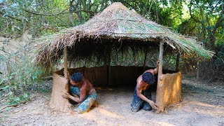Build A-frame mud hut ( Use grass mix with mud )