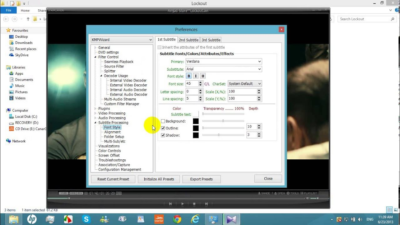 vlc media player how to make specific subtitles default