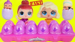 Fake LOL Surprise Dolls Open Hatchimals + LQL Lil Sisters!