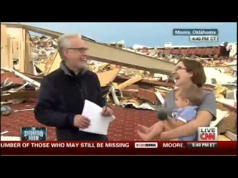 Wolf Blitzer Asks Tornado Survivor if She Thanked…