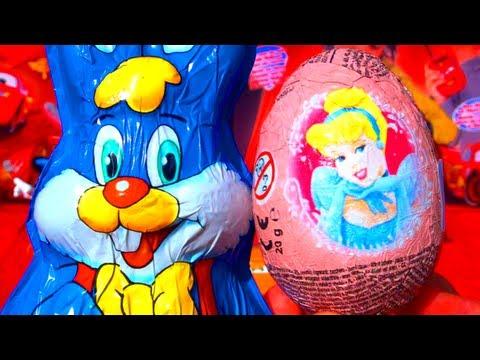 2 Toy Surprises Disney Princess Surprise Egg Unboxing & Kinder Surprise Easter Bunny Rabbit Opening
