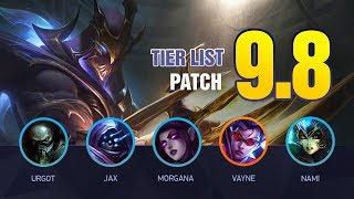 LoL Tier List Patch 9.8 by Mobalytics (Vayne Top, Sona/Taric Bot, and Cinderhulk Junglers)