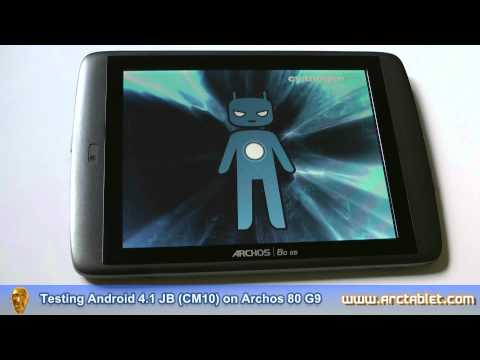 Archos G9 running Android 4.1 Jelly Bean CyanogenMod 10 firmware (CM10)