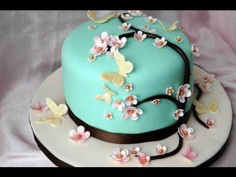 Torta fiori e farfalle per la festa della mamma youtube for Decorazioni torte per 60 anni di matrimonio