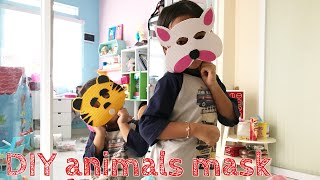DIY Animals Mask for Kids | Zara Cute membuat Topeng Hewan | Tiger & Cat Mask