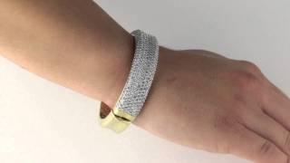 Tutone. 14k Gold-Plated DiamonUltra™ Cubic Zirconia Bangle Bracelet