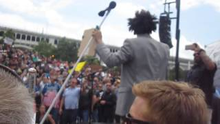 Eric Andre gets on stage at Donald Trump Rally
