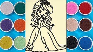 Chị Chim Xinh TÔ MÀU TRANH CÁT CÔNG CHÚA TÓC VÀNG Learn colors with princess sand painting