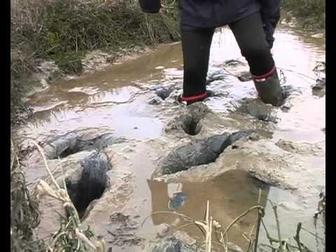 Rubber boots consumed by deep mud
