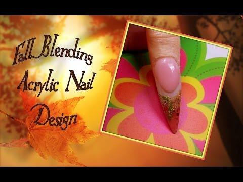 Fall Blending Acrylic Nail Design