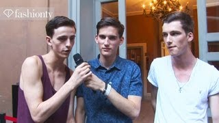 backstage at burberry with handsome male models milan mens fashion week spring 2013 fashiontv