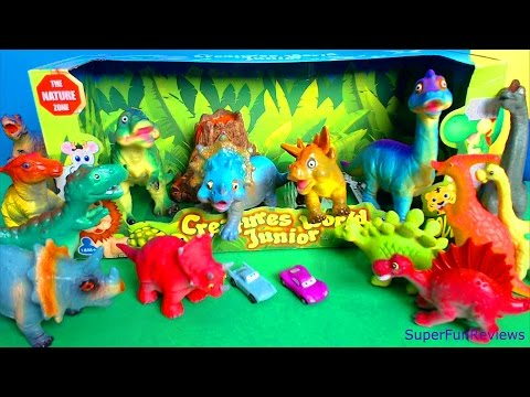 Happy Dinosaurs Cute Animals Toy Review with Volcano. T Rex. Triceratops. Stegosaurus & Brontosaurus