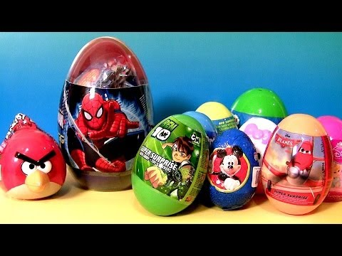 Kinder Surprise Eggs! Superman Angry Birds Disney Planes Cars Hobbit Monster High Mickey Huevos video