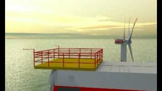 40 Squadron Sea King near Windturbine C-Power Thornton Bank Animation