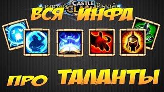 Битва Замков, Вся инфа про таланты, Castle Clash