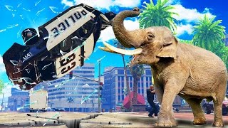 ELEPHANTS VS COPS - ELEPHANT ATTACK CITY (GTA 5 MOD)