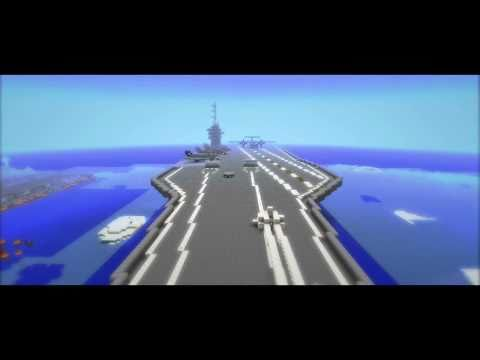 Minecraft mega build aircraft carrier with working plane minecraft
