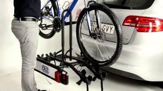 Видео: Велокрепление на фаркоп Cruz Stema.  Для 2 велосипедов, с откидным ручным механизмом.