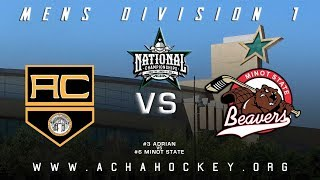 2019 ACHA Men's D1 National Championships (Game 14): #3 ADRIAN vs #6 MINOT STATE