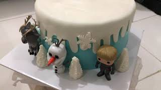 frozen cake decoration by yeniliu/Dekorasi kue ulang tahun frozen