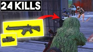 NEW WEAPON MK47 + LASER SIGHT IS IT GOOD? | 24 KILLS Season 5 | PUBG Mobile