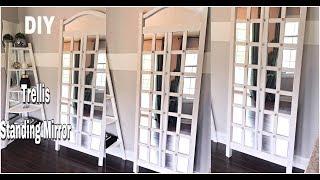 DIY HOME DECOR - HOW TO MAKE A EASY TRELLIS STANDING MIRROR