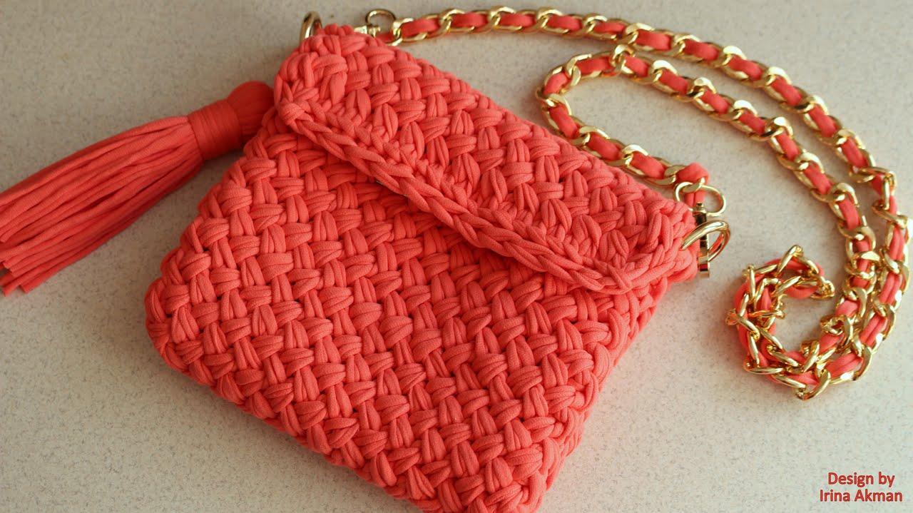 Вязание спицами сумки из трикотажной пряжи