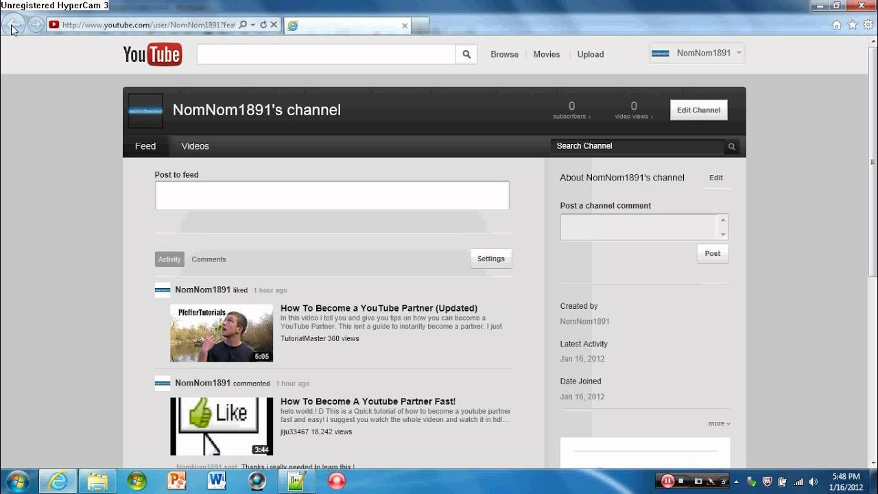 how to add youtube channel to blog front page