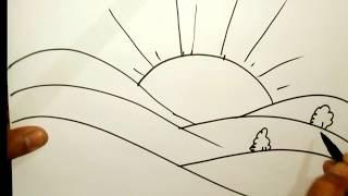 how to draw a summer season scene