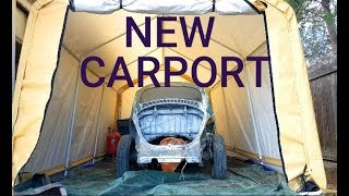 VW Bug Restoration New Harbor Freight Carport! | Family Safe