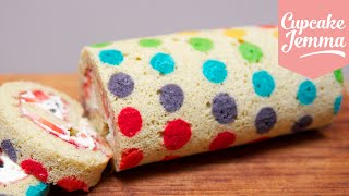 How to make a Rainbow Polka Dot Swiss Roll   Cupcake Jemma