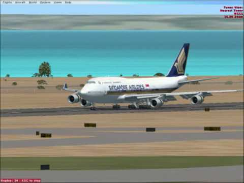 singapore airlines land in Changi airport - FSX
