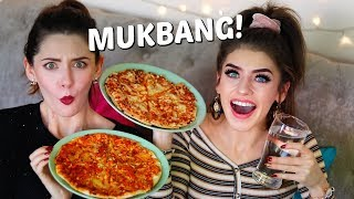 PIZZA MUKBANG (on a budget) WITH MY SISTER! | Eating Show | Jessie B & Melanie Murphy