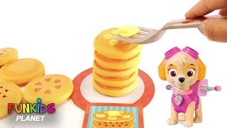 Learning Colors Videos for Kids: Paw Patrol Chase & Skye Play Stack Pancake Pile Up Challenge Game