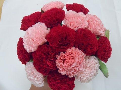 How to make crepe paper Carnation flowers, mothers day gifts - Hogyan készítsünk krepp papír szegfűt