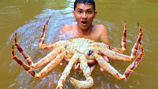 KING CRAB | Cooking King Crab Recipe in Forest