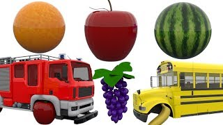 learn colors with fire trucks police cars street vehicles tires change with fruit tires for kids