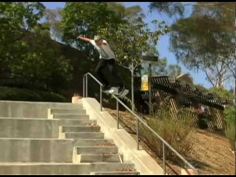 SKATEBOARDING - JAKE HILL - FEEBLE 14 STAIR RAIL