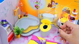 DIY Miniature Dollhouse Bathroom ~ Belle Room Decor ~ 10 Minute DIY Doll Crafts #5
